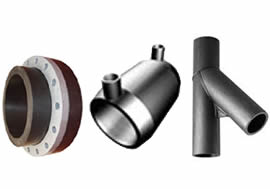 Poly fittings - Product Supply - Pipe & Fittings - PE pipe fittings and flanges, Poly to pvc sockets, HDPE, PE100, Complete system supply including pumps, valves, flow meters & electrical control equipment, Galvanised and Stainless Steel backing rings and flanges to suit PE Piping Systems